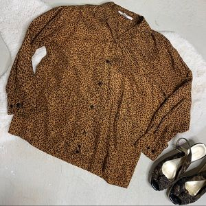 Vintage 90's The Limited Silk Blouse Animal Print